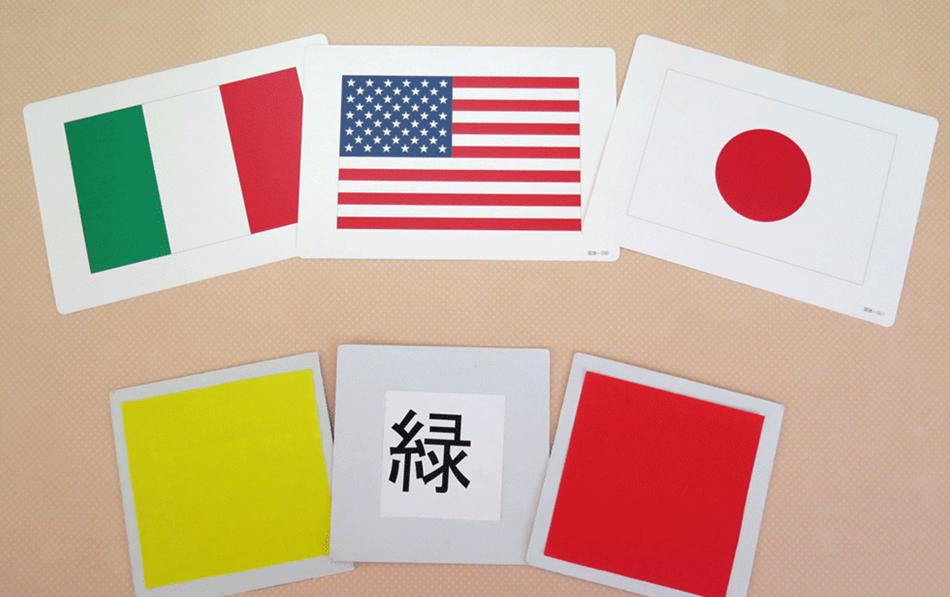 国旗や色が塗られたカード
